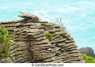 Pancake rock - Detail of pancake rock in Punakaiki, Paparoa...