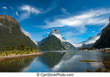 Milford Sound - Famous Mitre Peak rising from the Milford...