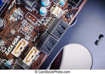 Printed computer motherboard with SATA Ports closeup