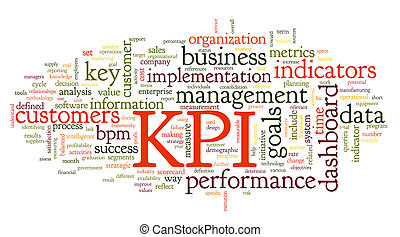 KPI key performance indicators in word tag cloud on white...