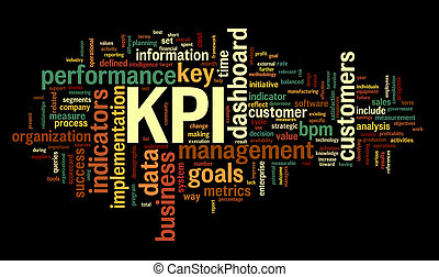 KPI key performance indicators in word tag cloud on black...