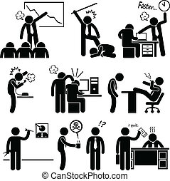 Angry Boss Abusing Employee - A set of human pictogram...