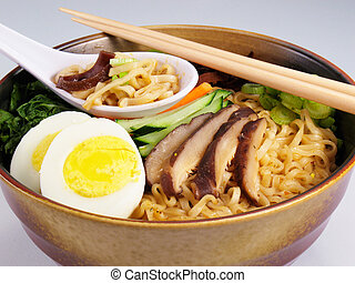 Ramen Soup - Ramen soup with hard boiled egg, vegetables,...