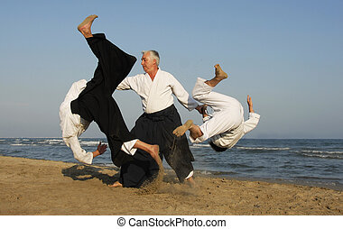 aikido on the beach - Three adults are training in Aikido on...