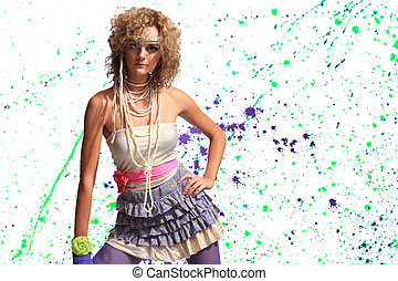 Fashion woman 80's style over pain splatter background