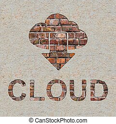 Cloud Concept on the Brick Wall.