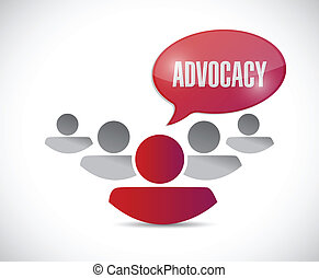 advocacy message and team illustration design over a white...