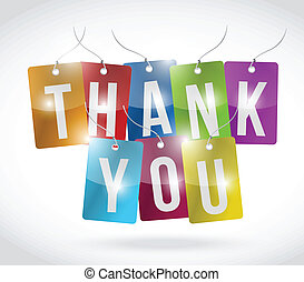 thank you color tags illustration design over a white...