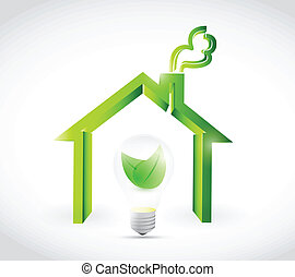 eco energy home illustration design over a white background