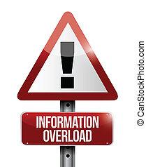 information overload warning sign illustration design over a...