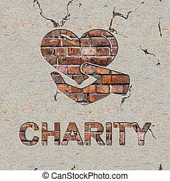 Charity Concept on the Brick Wall - Charity Word and Icon of...