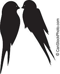 Love Birds Kissing - Romantic love birds kissing silouette.