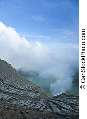 Volcano Ijen, Java, Indonesia - Sulphatic lake in a crater...