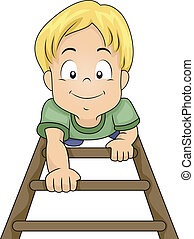 Ladder Boy - Illustration of a Little Boy Climbing His Way...