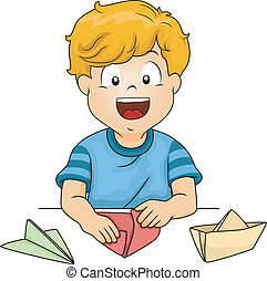 Paper Folding - Illustration of a Little Kid Folding Pieces...
