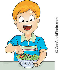 Salad Boy - Illustration of a Little Boy Digging in a Salad...