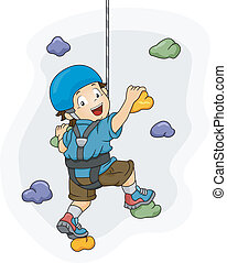 Wall Climbing Boy - Illustration of a Little Boy Dressed in...