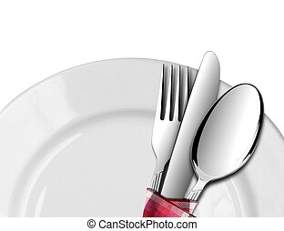 Spoon and Fork with Knife on Plate