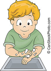 Boy Washing Hands - Illustration of a Little Boy Washing His...