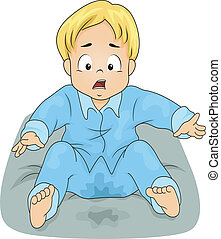 Bedwetting Boy - Illustration of a Little Boy Shocked to See...