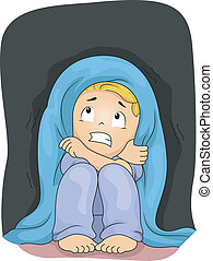 Scared of the Dark - Illustration of a Little Boy Crouching...