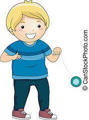 Yoyo Boy - Illustration of a Little Boy Playing with a Yoyo