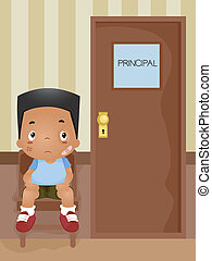 Principals Office - Illustration of a Boy Waiiting for His...