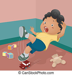 Slipping Accident - Illustration of a Boy Slipping After...