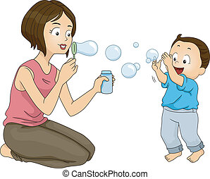 Mother and Son Bonding - Illustration of a Mother Blowing...