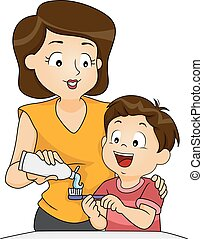 Brushing Time - Illustration of a Mother Teaching Her Son...