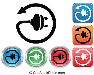 Electric plug button icons set - isolated Electric plug...