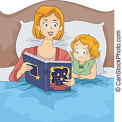 Bedtime Story - Illustration of a Mother Reading a Bedtime...