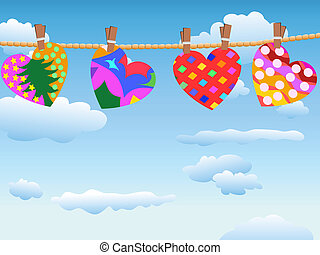 hanging loving hearts in blue sky