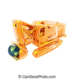 golden truck and globe isolated on a white background