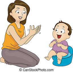 Potty Training - Illustration of a Mother Training Her Son...