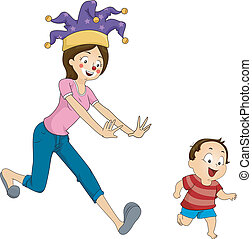 Playtime - Illustration of a Mother Playfully Running After...