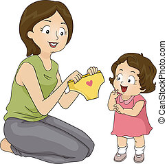 Diaper to Panties - Illustration of a Mother Presenting Her...