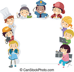 Future Careers - Illustration of Children Wearing the...