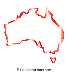 red outline of Australia map