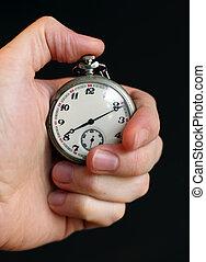 mano, tenencia, stop-watch