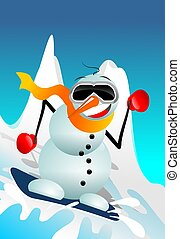 Snowman on Snowboard Funny Cartoon Illustration. Winter Fun...