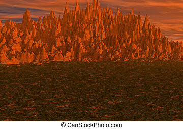 Orange Landscape - A brilliant mountain and landscape with...