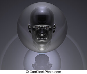3d men head in glass orb with reflection