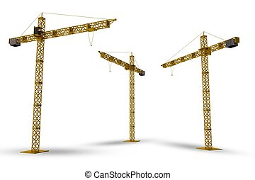 Construction Cranes Isolated on White. 3D Render Cranes...