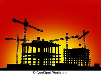 Construction Site in Sunset Simple Background Illustration....