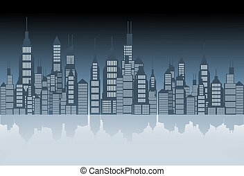 City Skyline Illustration - City Skyline Mirror Abstract...