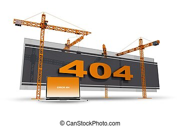 Error 404 Construction Site Illustration with Cranes and...