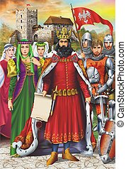 Medieval King and Retinue - European Medieval King and Royal...