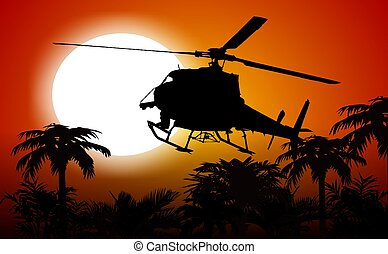 Helicopter In the Jungle Sunset Silhouette. Abstract...