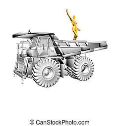 heavy truck model with golden girl statuette isolated on a...